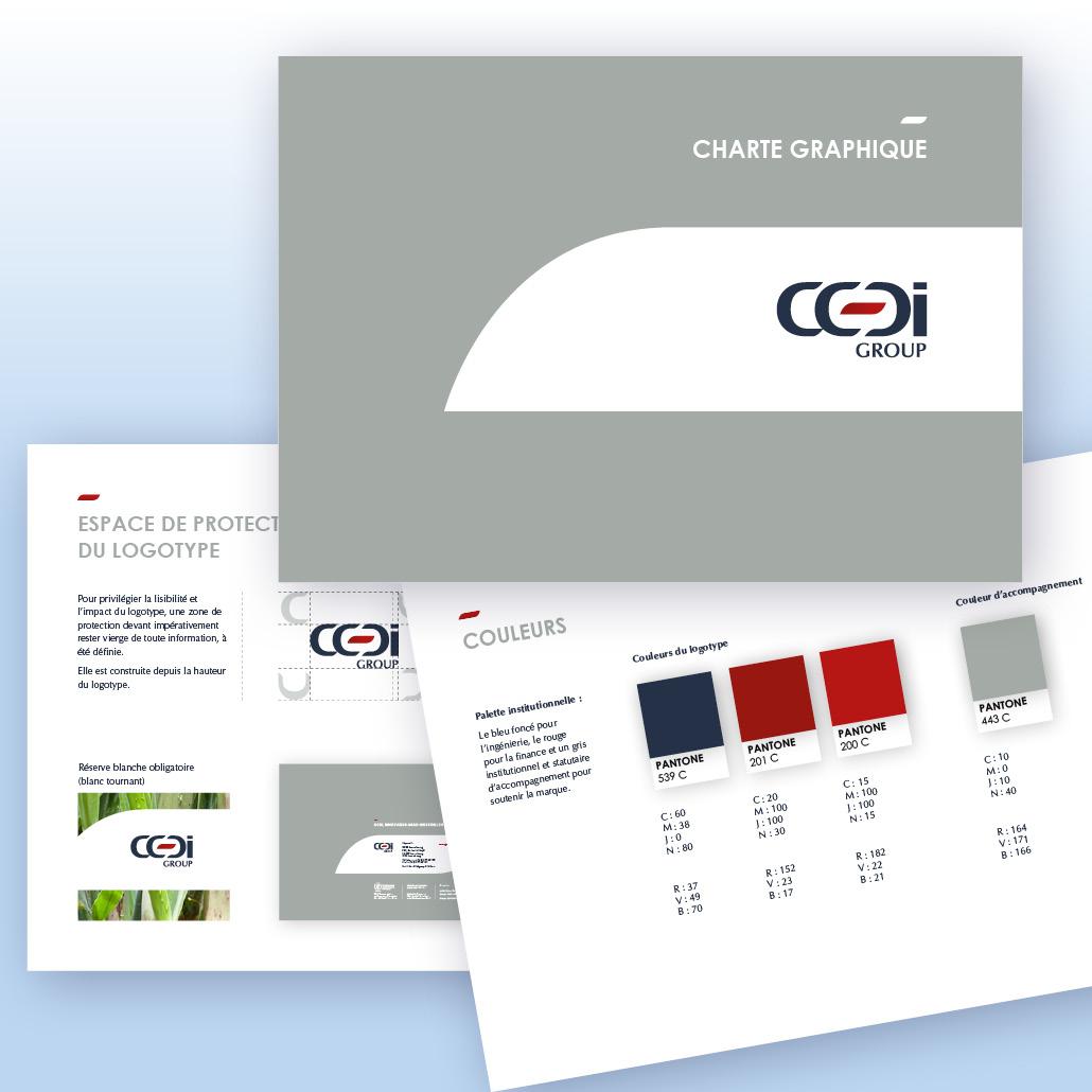 Positionnement de communication agence marquante Charte graphique groupe et filiales CCDI