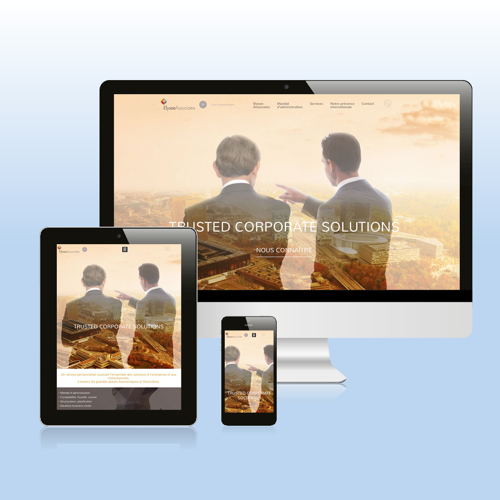 Identité de marque agence marquante site internet responsive ElyseeAssociates
