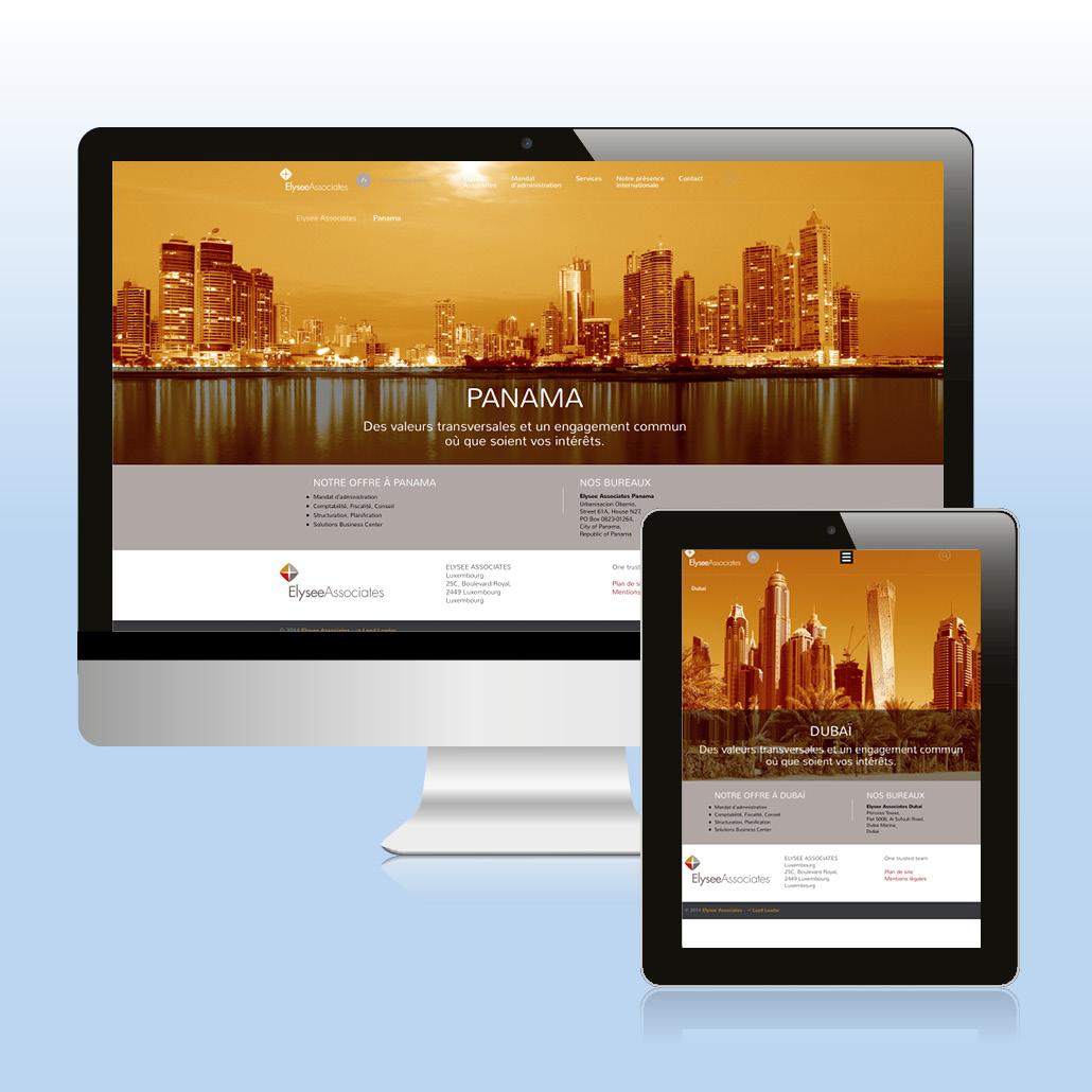 Identité de marque agence marquante site internet - déclinaison du concept visuel ElyseeAssociates