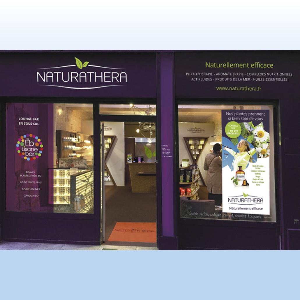 création de marque agence marquante Naturathera Signalétique du point de vente
